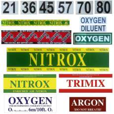 MOD, Nitrox, Argon, Diluent, Oxygen Sticker, Decals,...